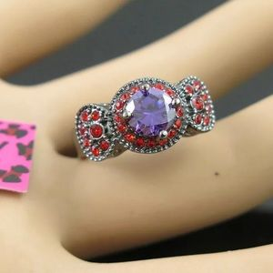 Betsey Johnson amethyst and red on black ring